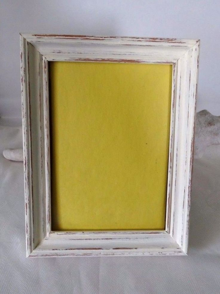 Yellow Distressed 5 x 7 desktop picture frame-wood-glass and backing included #Handmade #Cottage