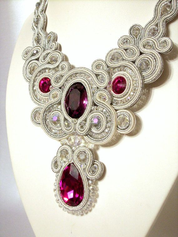 Necklace Wedding soutache necklace Soutache jewelry by YGSoutache