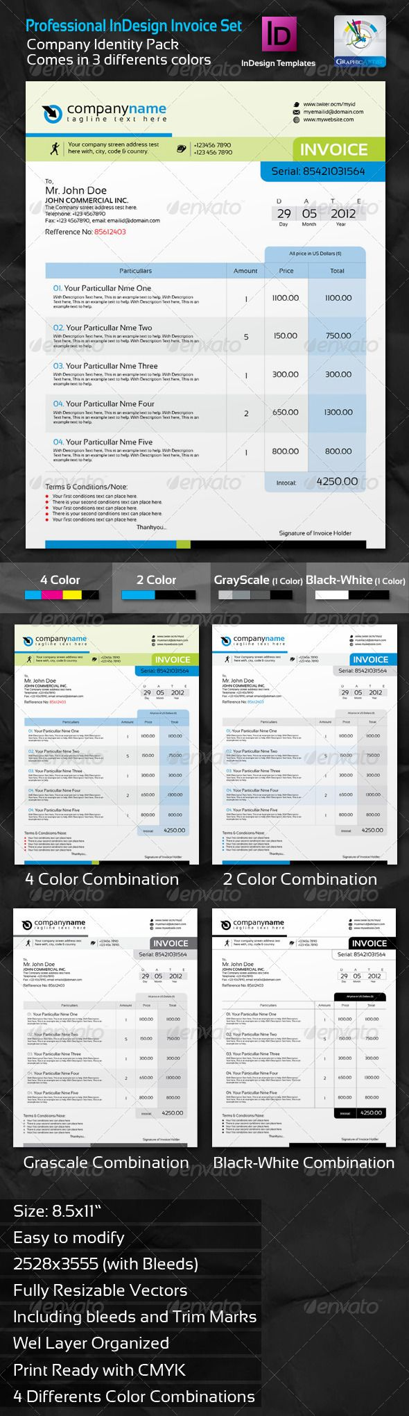 professional invoice indesign template set fonts invoice template and colors. Black Bedroom Furniture Sets. Home Design Ideas