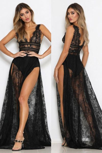 545d6efa3a Compre Vestido Longo Renda Transparente Com Abertura Preto ...