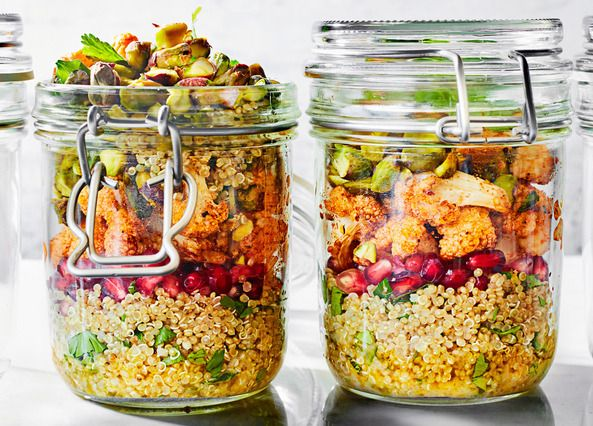 This nutritious gluten-free and vegan quinoa salad has spicy roasted cauliflower, pomegranate seeds and pistachios in a zingy lemon and coriander dressing