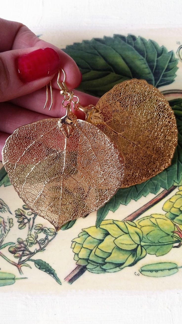 Real Big Gold Aspen Leaves, Plant Jewelry, Botanical, Statement Earrings, Glamorous Gold Earrings by AGNESMISTRAL on Etsy