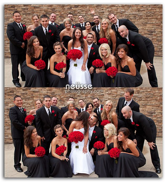 Fun wedding party portrait with bride and groom in front of stone wall at Bear Creek Mountain Resort, Macungie, PA. Theme color is beautifully coordinated red flowers, black tux and black gown for bridesmaids. Photography by www.NeussePhotography.com