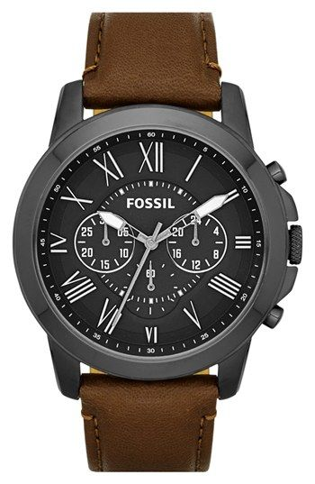 Future birthday gift to self!!! Fossil 'Grant' Round Chronograph Leather Strap Watch, 44mm available at #Nordstrom
