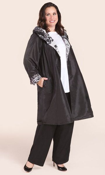 FILIGREE REVERSIBLE RAINCOAT / MiB Plus Size Fashion for Women / Fall Fashion / Plus Size Raincoat