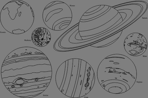 Planety Układu Słonecznego do kolorowania