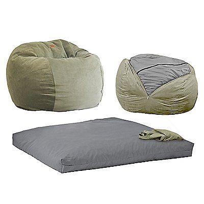 Pleasant Cordaroys Sage Plush Fur Convertible Bean Bag Chair Green Ibusinesslaw Wood Chair Design Ideas Ibusinesslaworg