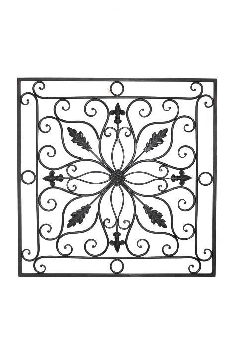 "Tuscan 24"" Square Indoor Outdoor Wrought Iron Wall Grille Plaque.  Enjoy this decorative wall art in any room as a single or any configuration that suits your needs. Crafted from Wrought Iron, it is finished in a rich bronze all weather powder coat finish with fleur-de-lis accents.  This item is sold individually or as a set of 4 for your convenience."