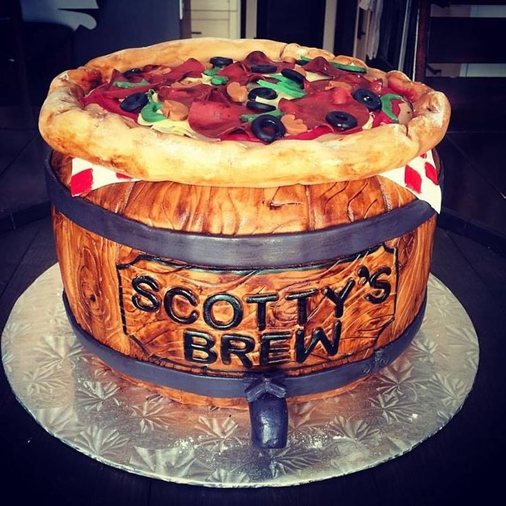 Pizza and Beer Birthday Cake  By Captain Killjoy Cakery in Lethbridge, AB.
