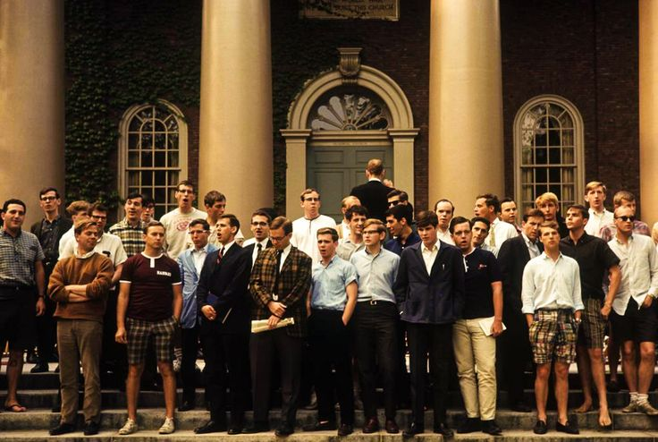 Harvard students in '65 - featuring ocbd's, sport coats, madras