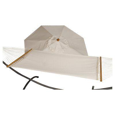 Phat Tommy 9 ft. Wood Sunbrella Umbrella and Hammock Set Birdseye - 330/350-COMBO.BIRDSEYE