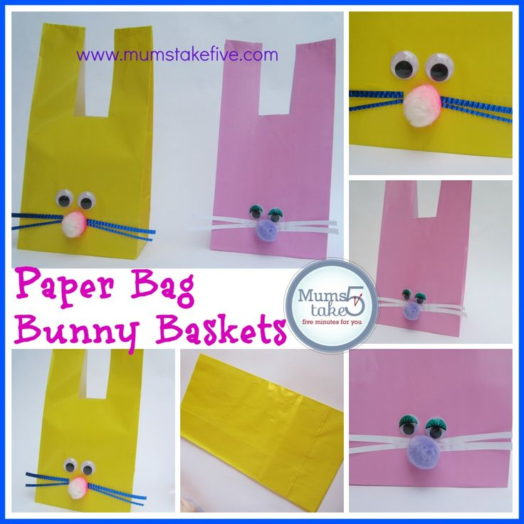 Easter Bunny Paper Bag Baskets