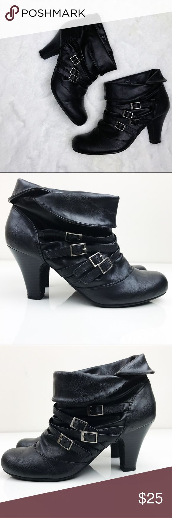 Steve Madden 'Singsing' Strappy Ankle Boots Gently used.  Very comfortable and stylish ankle boots!  Strap and buckle accents add to the undeniable stylish quality of these boots from Madden Girl by Steve Madden. Singsing ankle boots feature faux leather uppers and a fold-over cuff look.  * Height: Ankle * Style: Pull-on * Toe shape: Round * Heel height/type: 2.5-inch tapered Steve Madden Shoes Ankle Boots & Booties