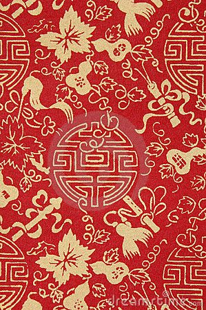Red Chinese fabric