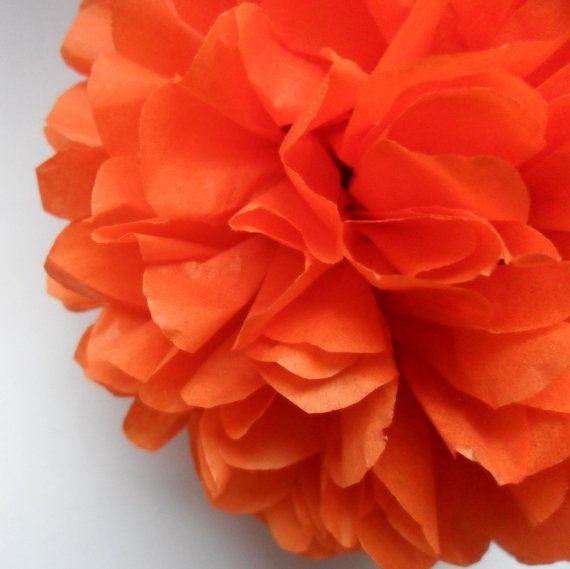 1 Orange Tissue Paper Pom Pom  Wedding Decoration  by PaperPomPoms