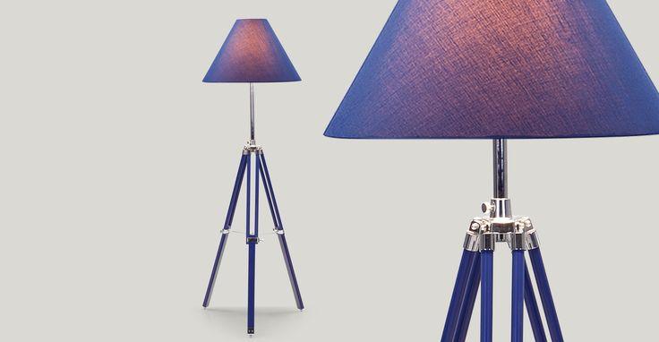 Navy Tripod Floor Lamp, Nautical Blue