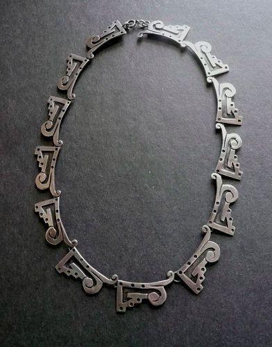 Vintage Modernist Sterling Taxco Layered Necklace Signed Pre Eagle