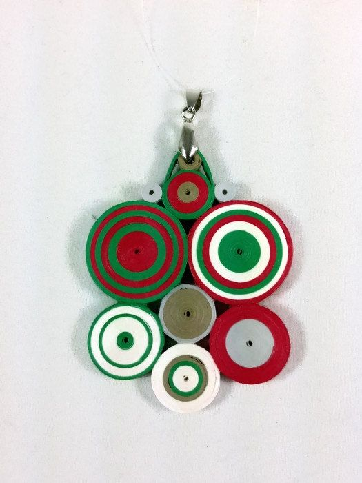 Christmas necklace handmade from paper quilling is abstract art deco red and green and white circle cluster pendant.