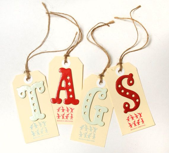 Christmas Gift Tag With Alphabet Letter For Names By