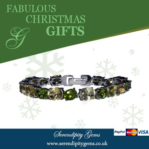 A very special gift this Christmas.#FabulousChristmasGifts Beautiful full round bracelet in peridot and lemon quartz. Buy now £315 from www.serendipitygems.co.uk