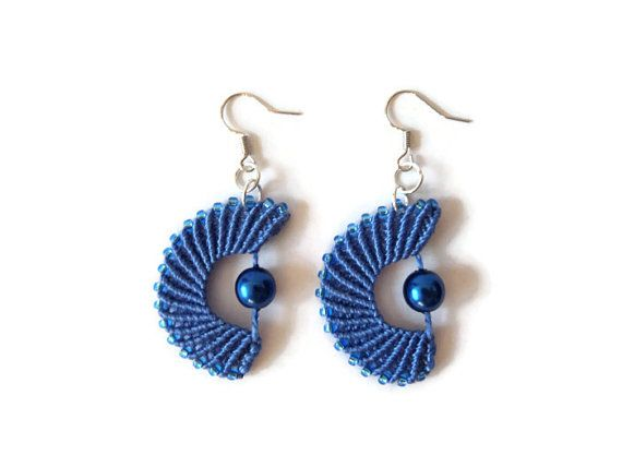 OOAK blue micro macrame dangle earrings fashion jewelry with incorporated seed beads, half circles