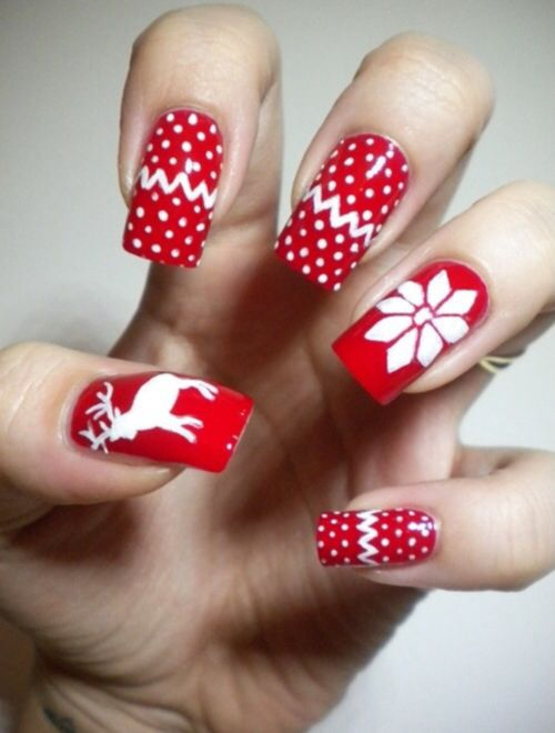 Red white Christmas nails! Winter inspired!