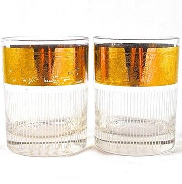 Adonis Collection Vintage Pinstripe and Gold Rocks Glasses midcentury-cups-and-glassware