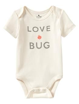 """Cheeky graphic bodysuit... newborn unisex. My sister use to be called """"bug"""" growing up... so this is suiting!!!"""