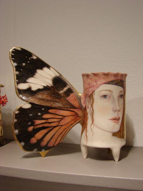"""Hamadry as Feronia"" handbuilt porcelain, overglaze painting, 24k gold luster 7 x 7 x 3"" Jane Sauer Gallery"