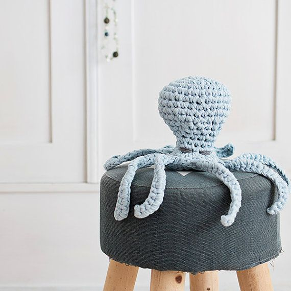 Light blue crocheted octopus made with eco yarn perfect for