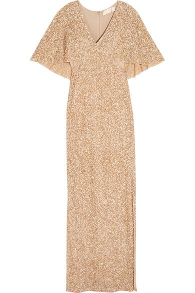 Gold sequined tulle Concealed zip fastening along back 100% nylon; lining: 94% polyester, 6% elastane Dry clean