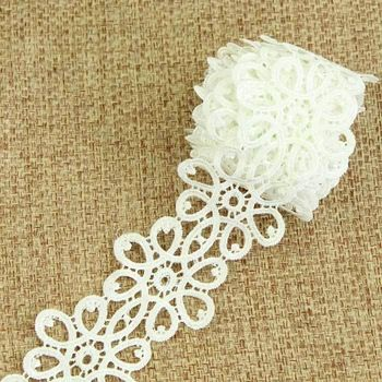 3 Yards Cotton Sewing Lace Trim Bridal Dress Embroidered White Ribbon lace S10919