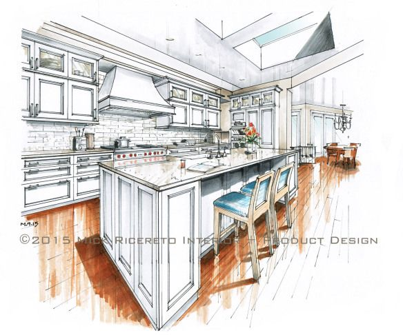 SieMatic Beaux Arts Class Kitchen Rendering By Mick Ricereto