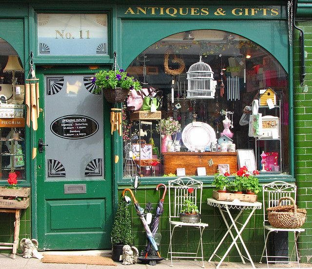 Antique Shop Front, Leverstock Green, Hemel Hempstead, England [photo: Mrsmission4]