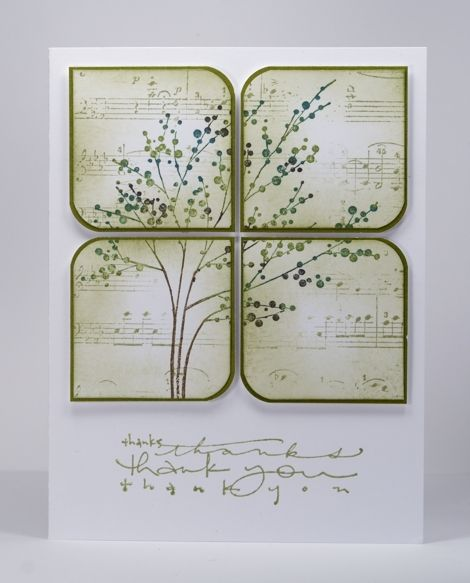 Heather Telford  reated the design on a panel by first stamping the music background lightly then the tree which was inked with markers. Then sliced the panel into squares, rounded two corners on each square and added some perimeter sponging before matting them and popping them up.    Very elegant card.