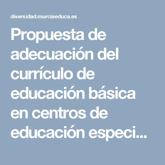 Propuesta de adecuación del currículo de educación básica en centros de educación especial y aulas abiertas