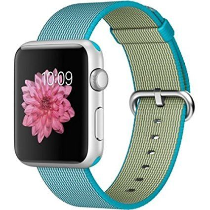 Apple Watch Sport 42mm Silver Aluminum Smartwatch - Scuba Blue Woven Nylon Band ** Read more  at the image link.