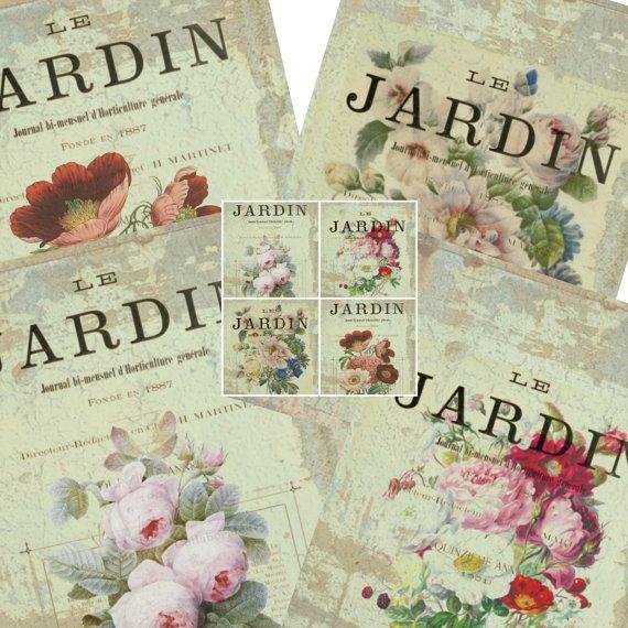 Check out Digital Collage Sheets, Vintage French Garden, Le Jardin Botanical Illustration, Shabby Chic,  Instant Download,  Vintage Scrapbook Supply on nouveauvintagegoods