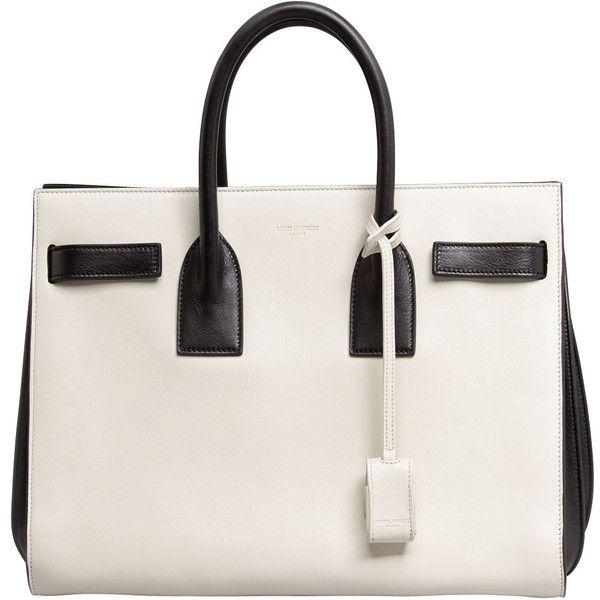 Saint Laurent Sac de Jour Carryall Bag, White/Black ($2,750) via Polyvore