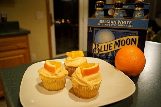 Easy Blue Moon Cupcakes with Vodka Infused Oranges. I will skip the elaborate frosting and just get pre-made cream cheese frosting and put orange zest in it. L.A.Z.Y. that's why