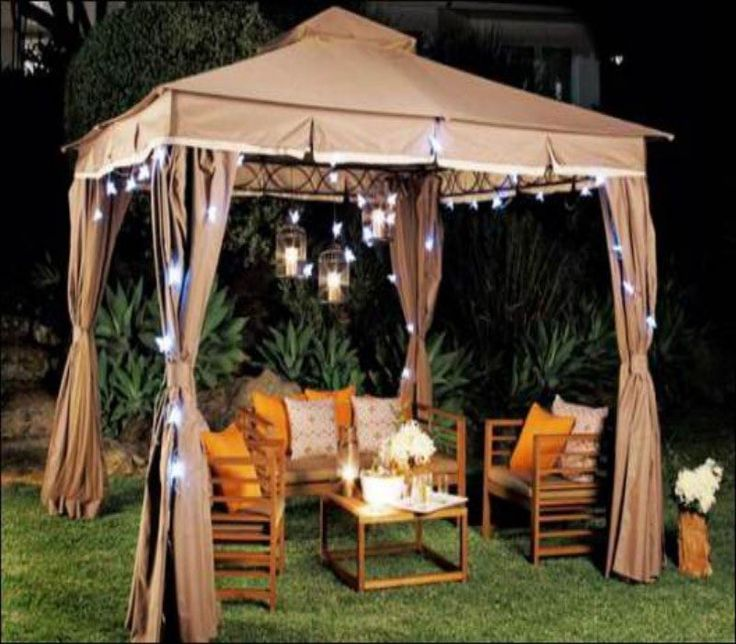 Modern Patio Gazebo Furniture Ideas: The Furniture Of The Same Color Give  Wonderful Appearance Of The Gazebo Styles And Designs.