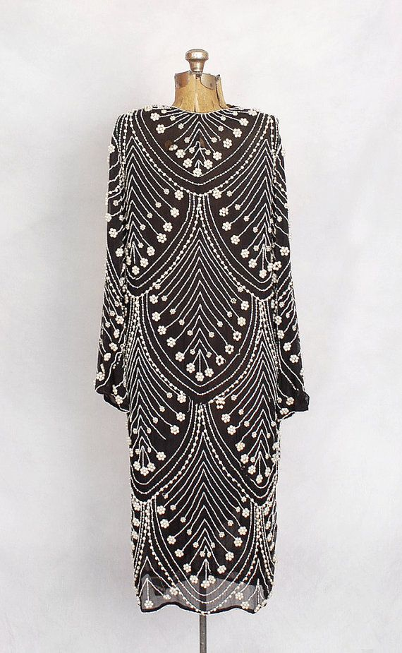 1920s black and white silk chiffon pearl-beaded dress
