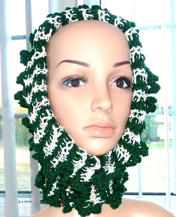Crocheted Cowl Hoodie  Reversable Green by SouthamptonCreations, $19.00