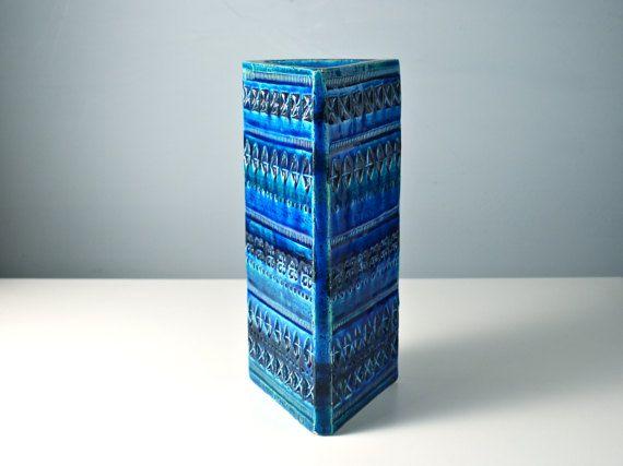 Large triangular Bitossi Rimini blue slab vase. by AnEyeOnStyle