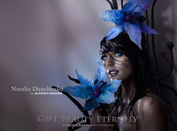 Photography by Aleksey&Marina. Model  - Natalia Danchenko. #blue, #beautiful_girl, #make_up, #blue_flowers