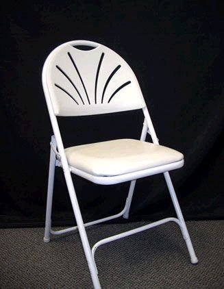 Where to rent CHAIR WHITE PADDED FAN BACK in Lancaster County PA, Lebanon PA, Reading PA, Berks County Pennsylvania, Ephrata, Denver PA