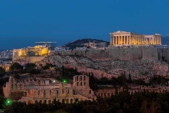 Acropolis Hill, Parthenon, Herodes Atticus Theatre. Night Illumination. Athens, Greece - Marcio Jose Sanchez/AP Images