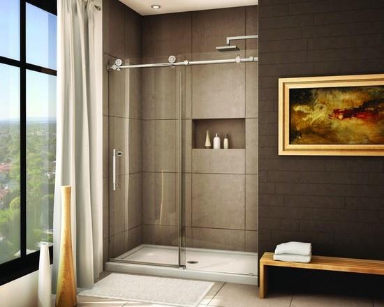 frameless sliding shower door system