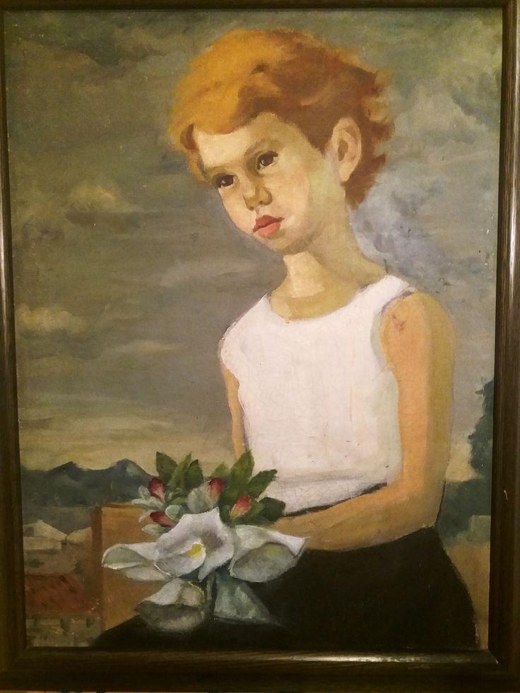 Aquí con un ramo de flores, tratando de imitar la pincelada del autor y los 60 años que han pasado desde que lo pintó...  hummm...