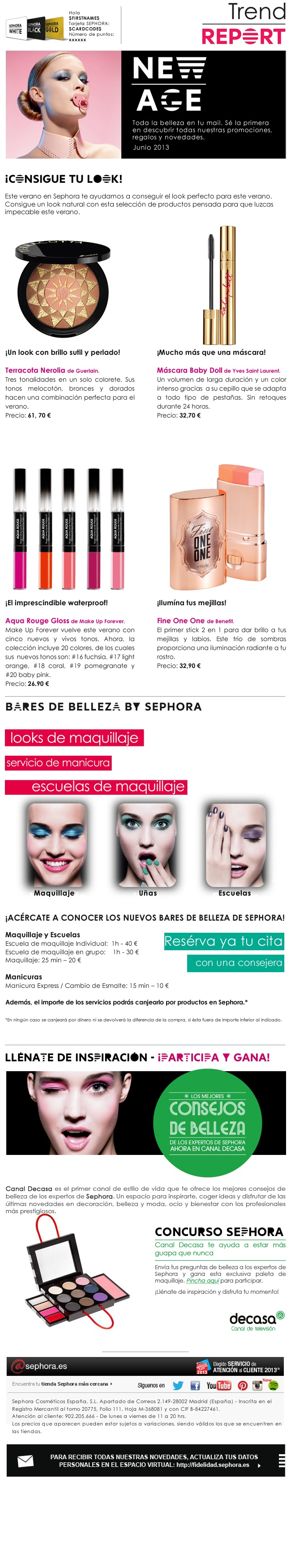 Newsletter Sephora - junio 2013